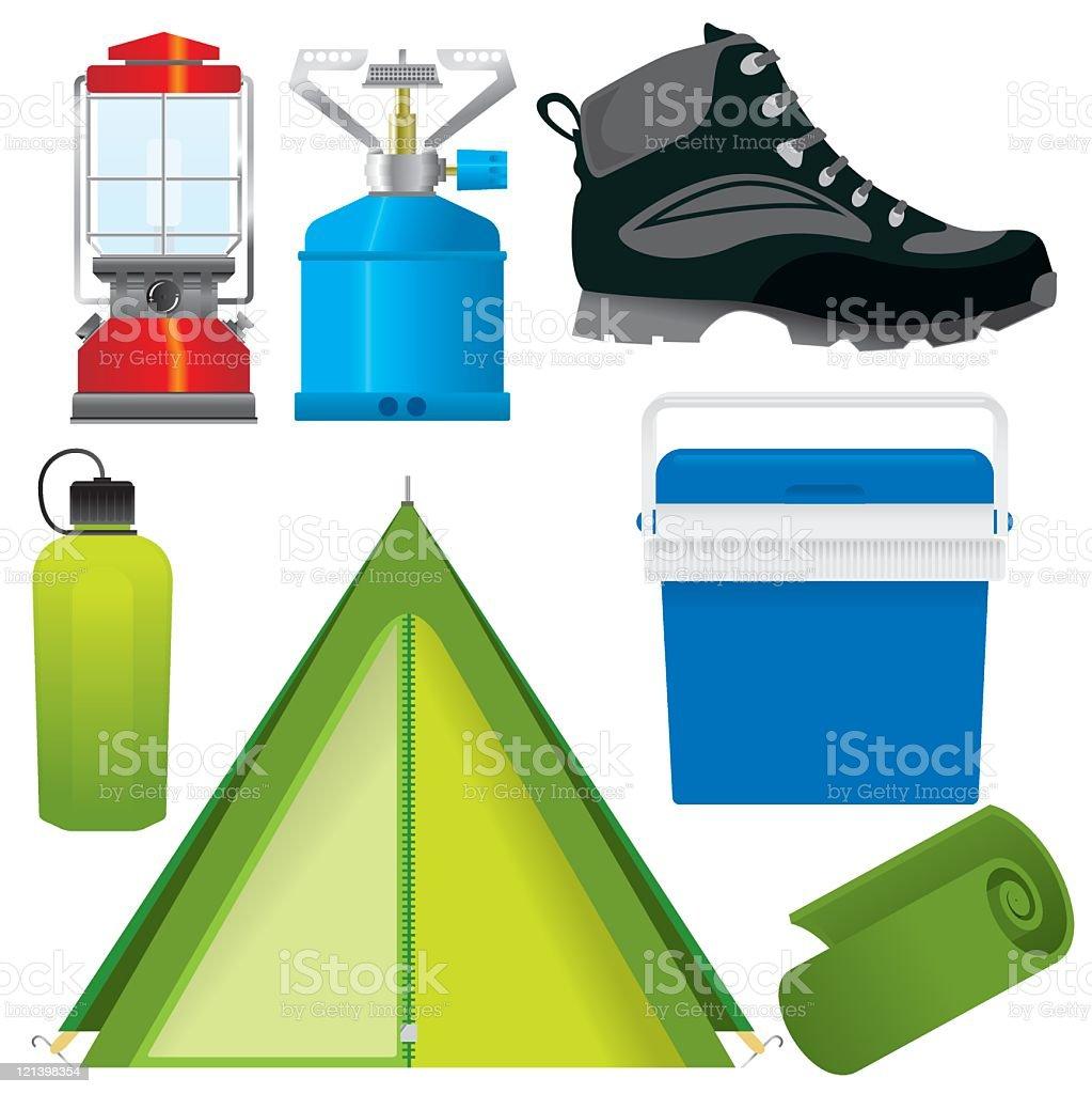 Camping und Wandern – Vektorgrafik