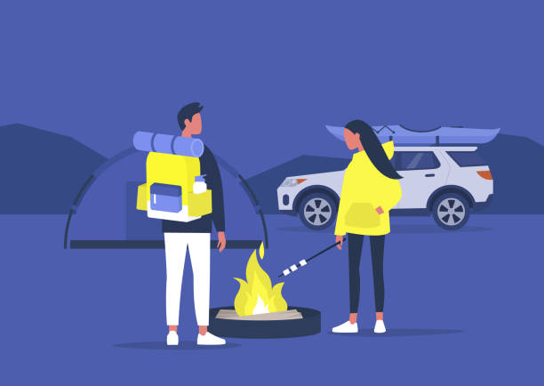 illustrazioni stock, clip art, cartoni animati e icone di tendenza di campeggio ed escursioni, giovani turisti che arrostivano marshmallow su un falò, tempo libero attivo all'aperto - car chill
