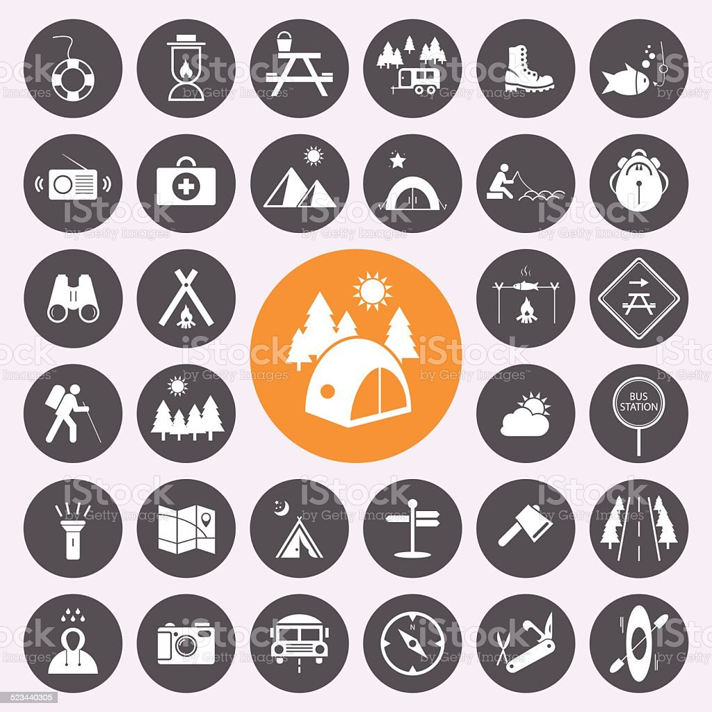 Camping and holiday icon set.Vector/illustration. vector art illustration