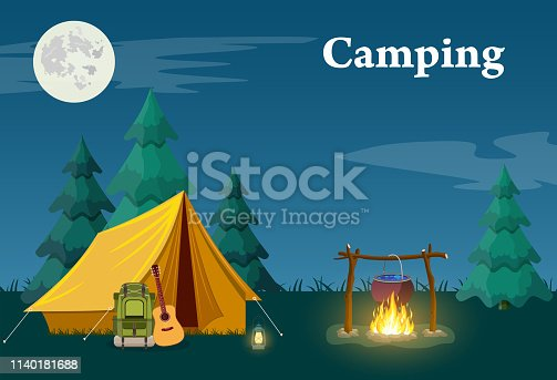 Camping and Mountain Camp. for Web Banners or Promotional Materials. Vector illustration in flat style