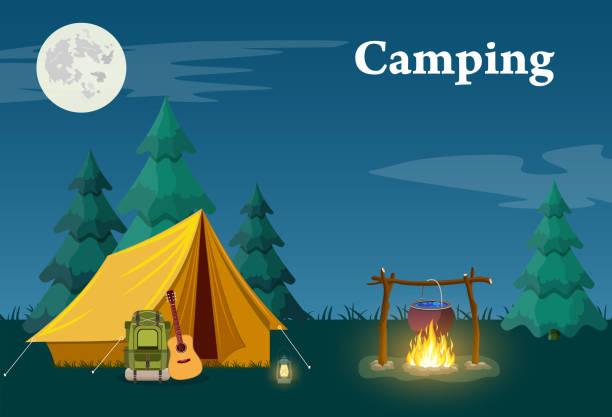 ilustrações de stock, clip art, desenhos animados e ícones de camping and mountain camp. - camping