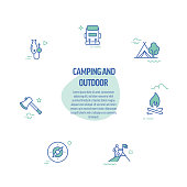 Camping and Outdoor Activity Related Line Icons. Modern Line Style Design Elements.