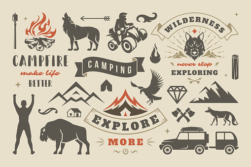 Camping and outdoor adventure design elements set, quotes and icons vector illustration