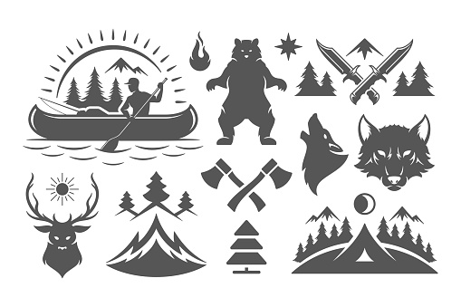 Camping and outdoor adventures design elements and icons set vector illustration