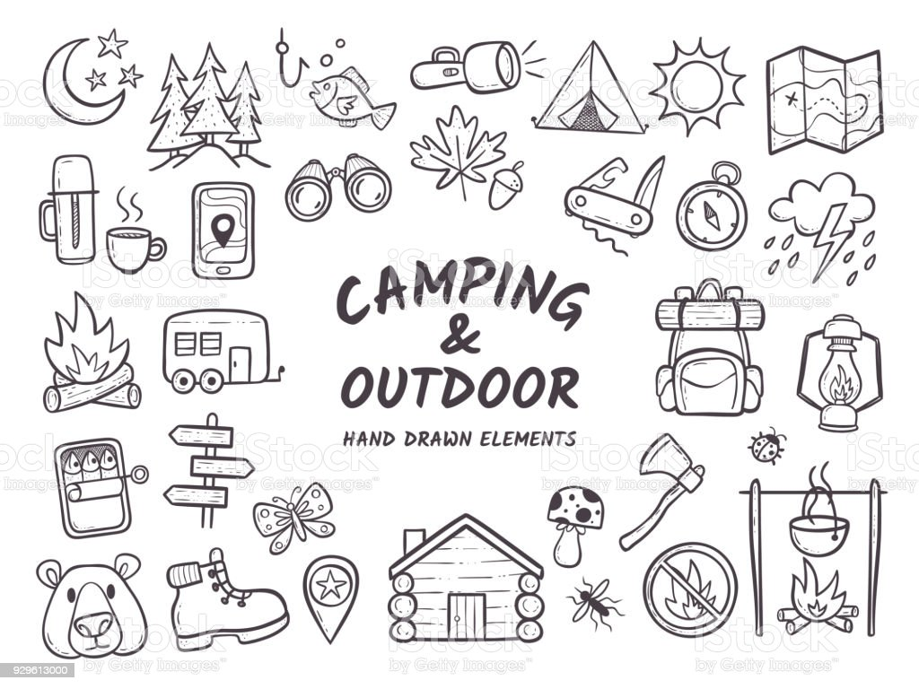 Camping et outdoor adventures éléments dessinés à la main - Illustration vectorielle