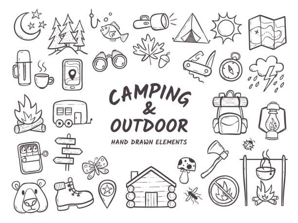 illustrations, cliparts, dessins animés et icônes de camping et outdoor adventures éléments dessinés à la main - cuisine espagnole