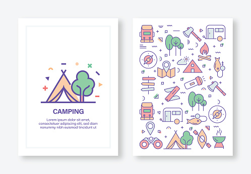 Camping and Outdoor Concept Line Style Cover Design for Annual Report, Flyer, Brochure.