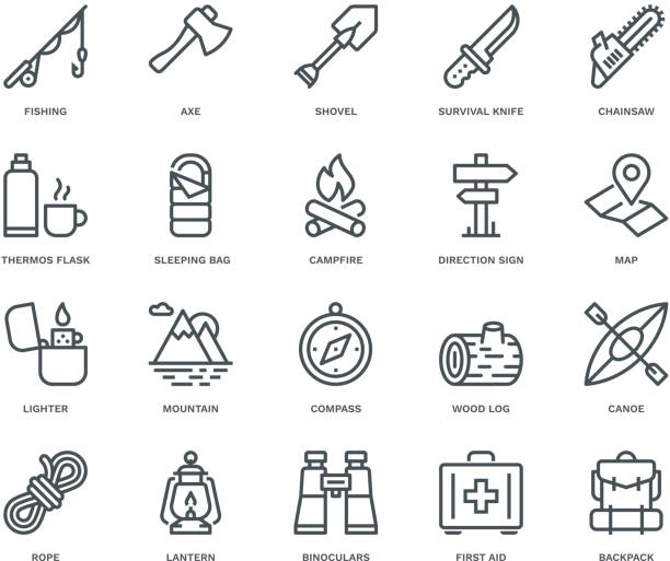 Camping and Outdoor Icons,  Monoline concept The icons were created on a 48x48 pixel aligned, perfect grid providing a clean and crisp appearance. Adjustable stroke weight. lantern stock illustrations