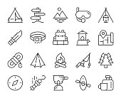 istock Camping and Outdoor - Light Line Icons 1295018273