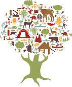 camping and outdoor recreation colored icons tree shaped