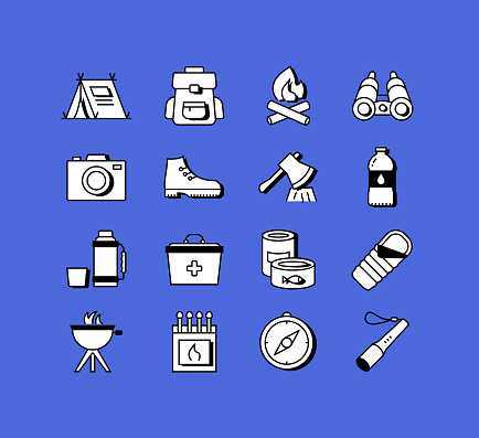 Camping and Outdoor Recreation Related Icons Vector Collection. Modern Style Symbol Vector Illustration
