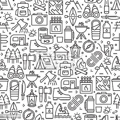 istock Camping and Outdoor Recreation Seamless Pattern and Background with Line Icons 1204638590