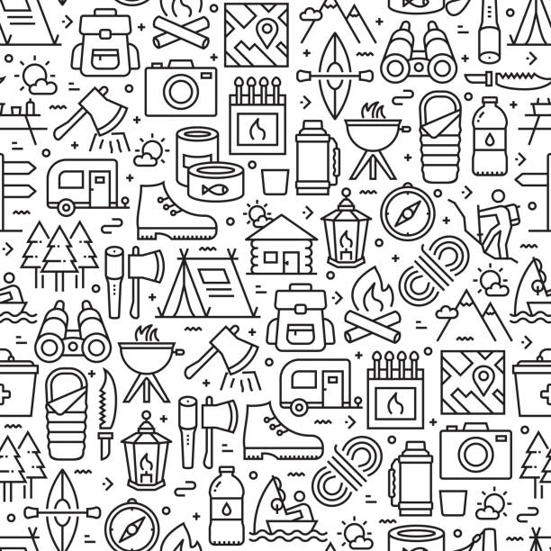 Camping and Outdoor Recreation Seamless Pattern and Background with Line Icons Camping and Outdoor Recreation Seamless Pattern and Background with Line Icons adventure patterns stock illustrations