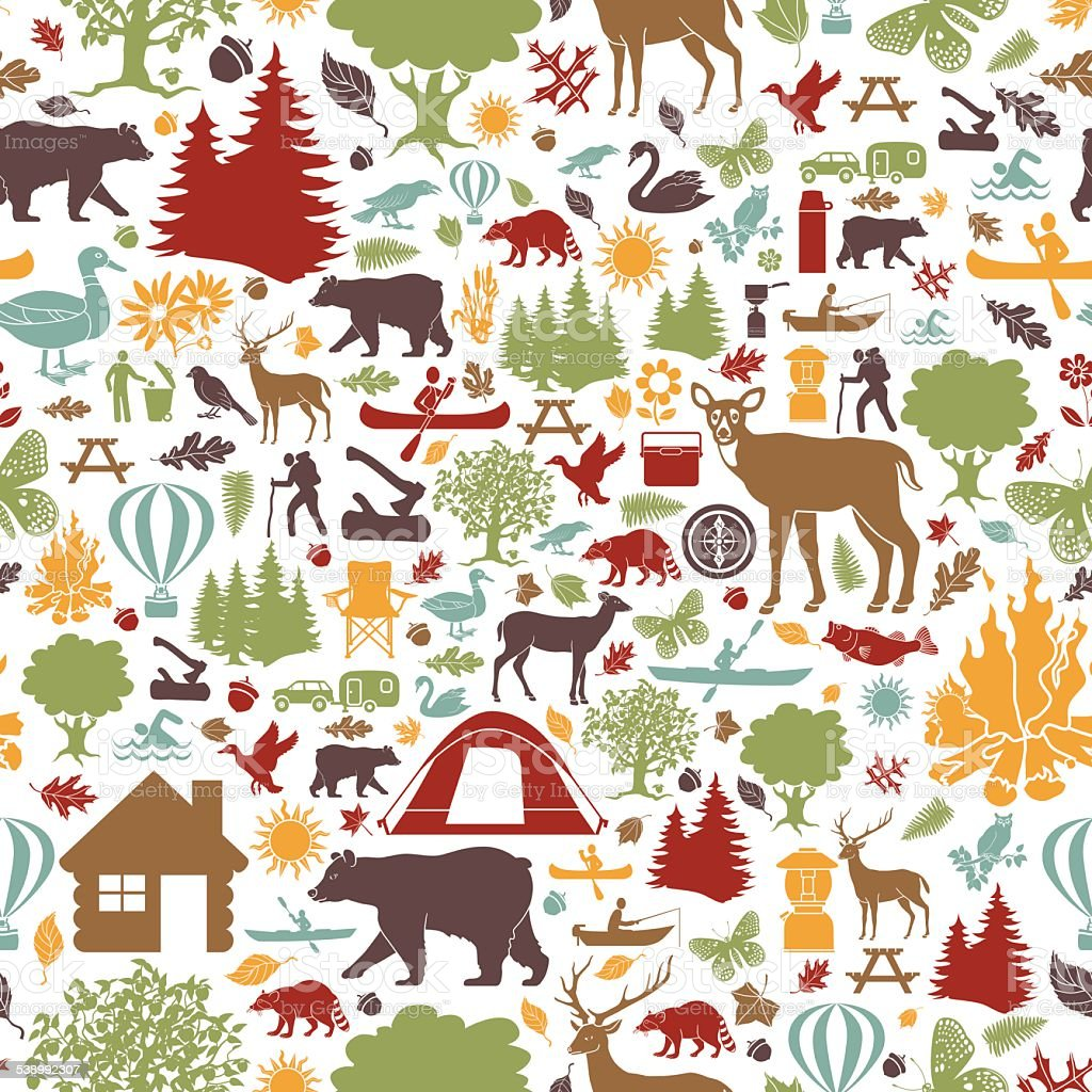 camping and outdoor recreation seamless tiling pattern vector art illustration
