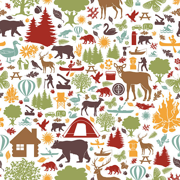 camping and outdoor recreation seamless tiling pattern - log cabin stock illustrations, clip art, cartoons, & icons