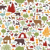 camping and outdoor recreation seamless tiling pattern