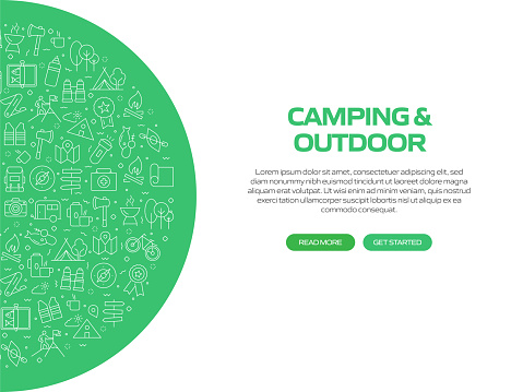 Camping and Outdoor Related Banner Design with Pattern. Modern Line Style Icons Vector Illustration