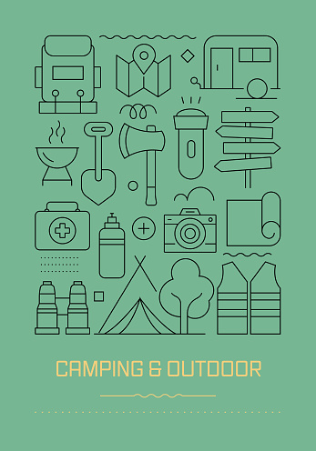 Camping and Outdoor Related Modern Line Design Brochure, Poster, Flyer, Presentation Template Vector Illustration