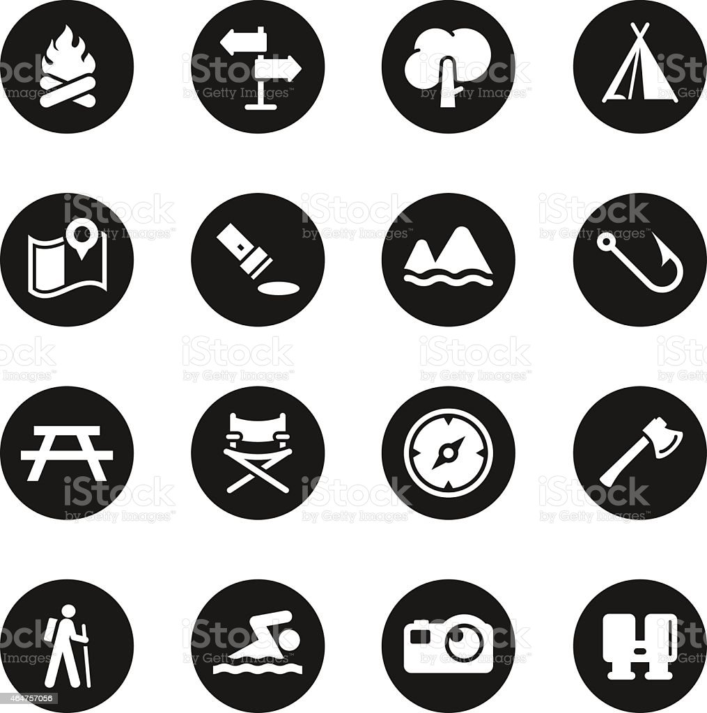 Camping and Outdoors Icons - Black Circle Series vector art illustration