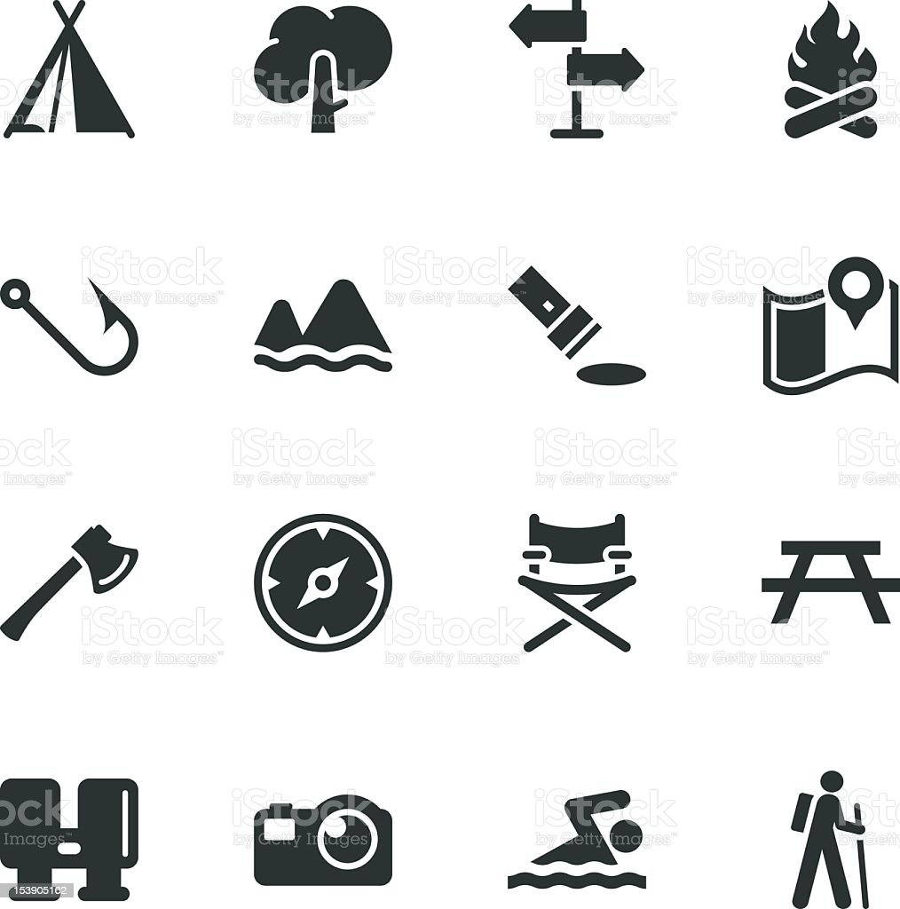 Camping and Outdoors Silhouette Icons royalty-free stock vector art