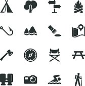 Camping and Outdoors Silhouette Vector File Icons.