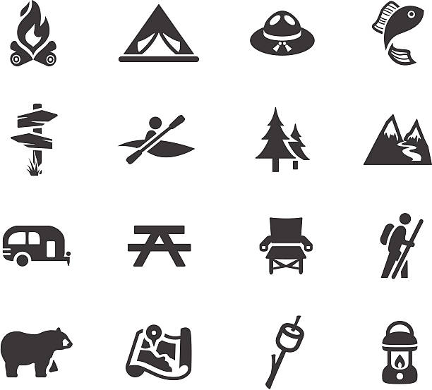 camping and outdoors symbols - kayaking stock illustrations, clip art, cartoons, & icons
