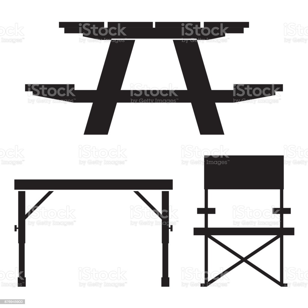 Camping and Picnic Table Icons vector art illustration