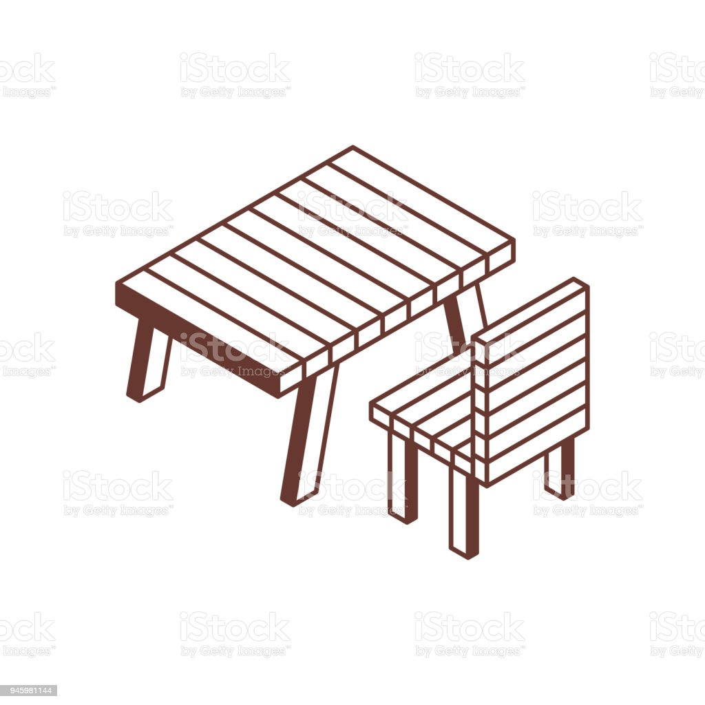 Camping And Picnic Table Isometric Icon Stock Illustration   Download Image  Now
