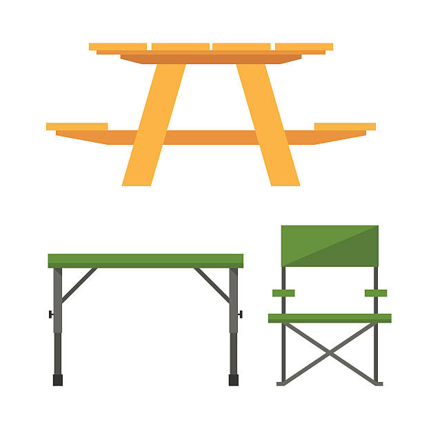 Camping and Picnic Table vector art illustration