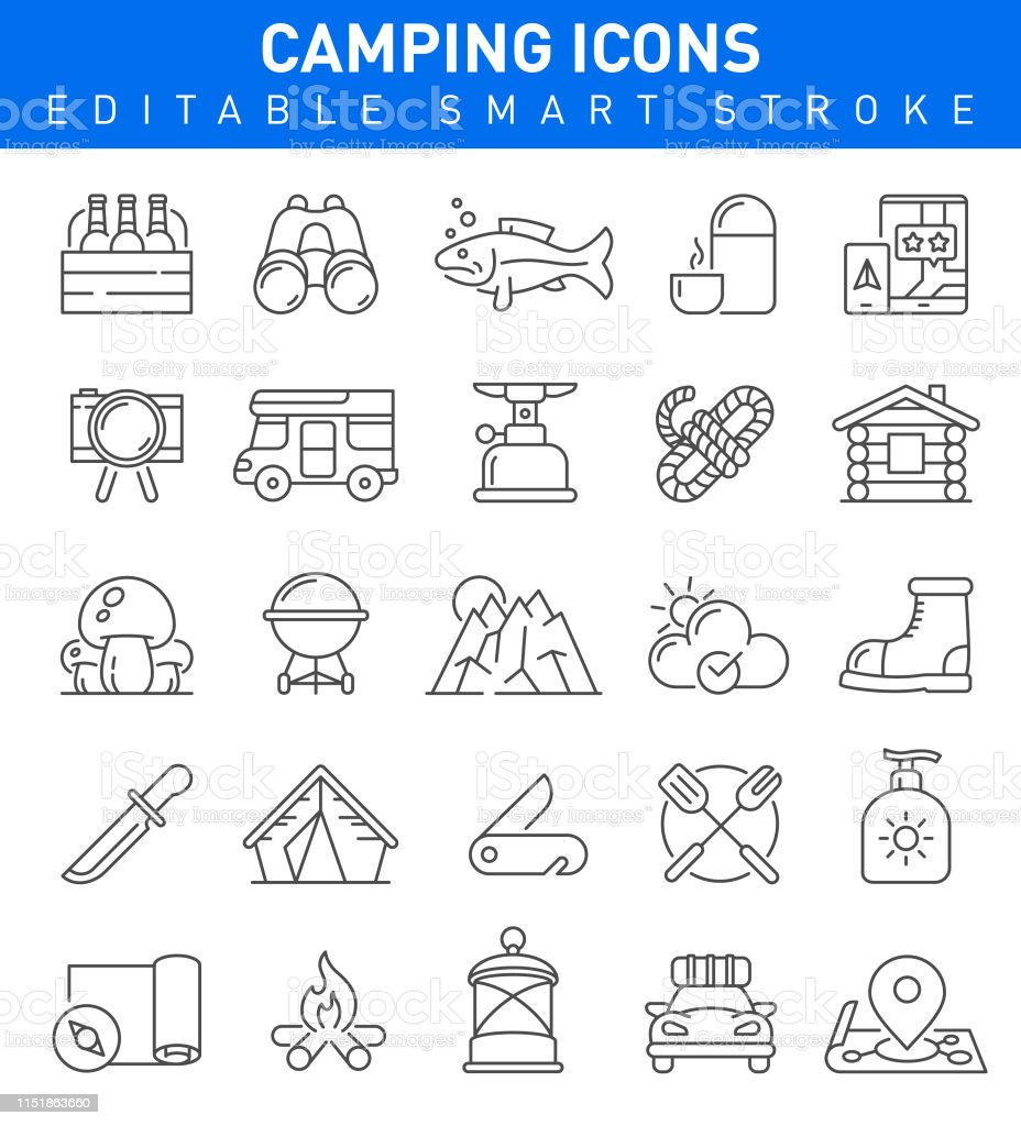 Camping icons with survival and adventure symbols