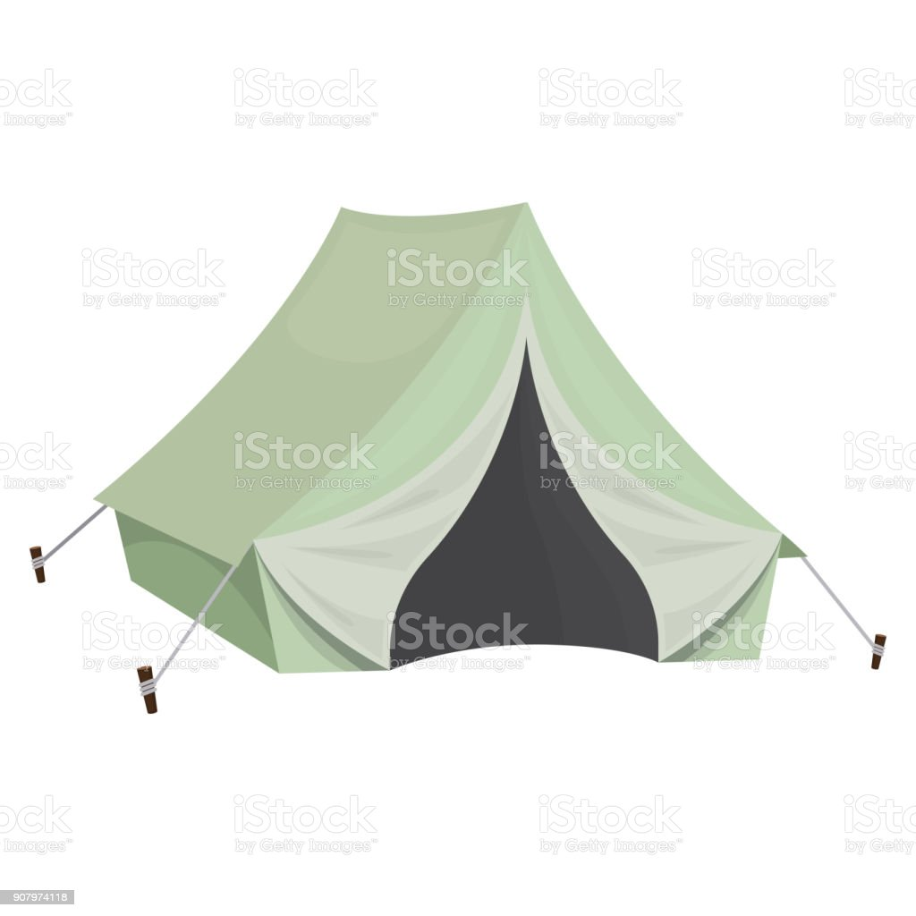 Camping tent for tourism, cartoon illustration of travel equipment....