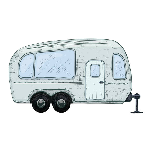 stockillustraties, clipart, cartoons en iconen met camping en toerisme apparatuur - caravan