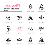 Camping and tourism - line design icons set. Medical, fishing, hunting, tent, trailering, bicycle touring, water, ski, diving, mountain hiking, caving, exotic, join a group, instructors, gear