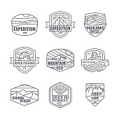 Travel, nature, hiking, hipster, Camping, editable icon set