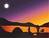 A couple on a camping trip.  They make camp at sunset and start a campfire.