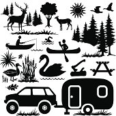 A vector illustration of camping at the lake design elements.