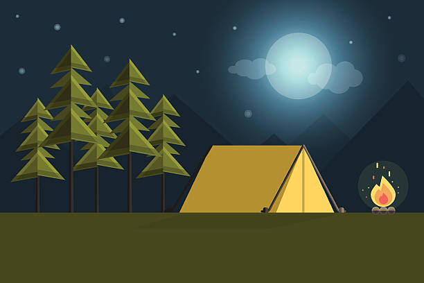 Camping Background Vector Art Illustration