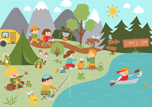 Camping background with cute children doing Summer activities. Vector woodland scene with hiking, fishing, rafting, singing kids. Active holidays or local tourism plan design for postcards, ads, print