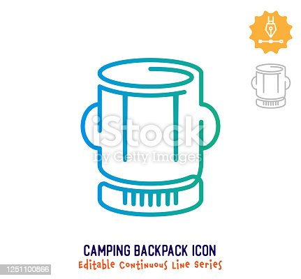 istock Camping Backpack Continuous Line Editable Stroke Line 1251100866