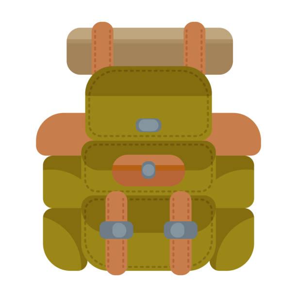 ilustrações, clipart, desenhos animados e ícones de mochila campismo em moderno estilo simples sem contorno. atributo do viajante e turista. equipamento de floresta. ilustração vetorial - orientador escolar