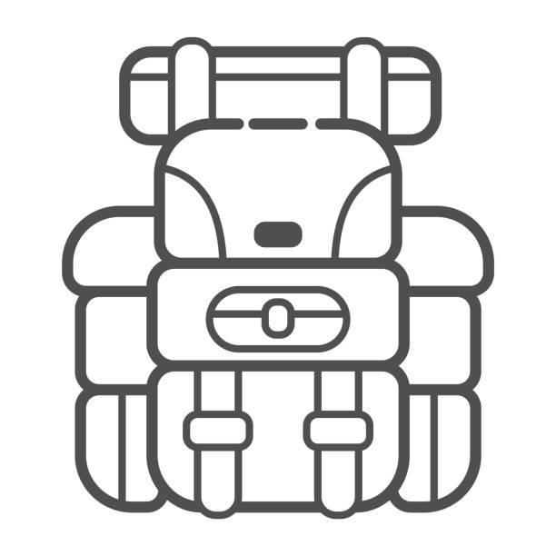 ilustrações, clipart, desenhos animados e ícones de mochila campismo na arte moderna linha. atributo do viajante e turista. equipamento de floresta. ilustração vetorial - orientador escolar