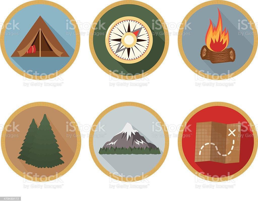 Camping Badge Long Shadow Icons - Set of 6 vector art illustration