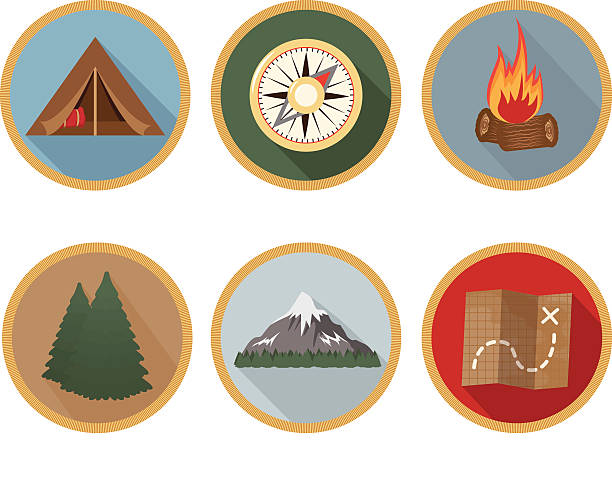 Camping Badge Long Shadow Icons - Set of 6 vector art illustration