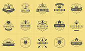 Camping badges templates vector design elements and silhouettes set. Outdoor adventure mountains and forest camp vintage style emblems and logos retro illustration.