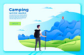 Camping banner, man looking on forest, mountains