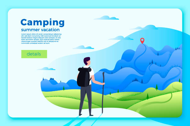 Camping banner, man looking on forest, mountains Vector bright camping banner template with man looking on forest and mountains on soft background, with achievement point. climbing stock illustrations