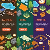 Camping Banner Vecrtical Set Isometric View. Vector