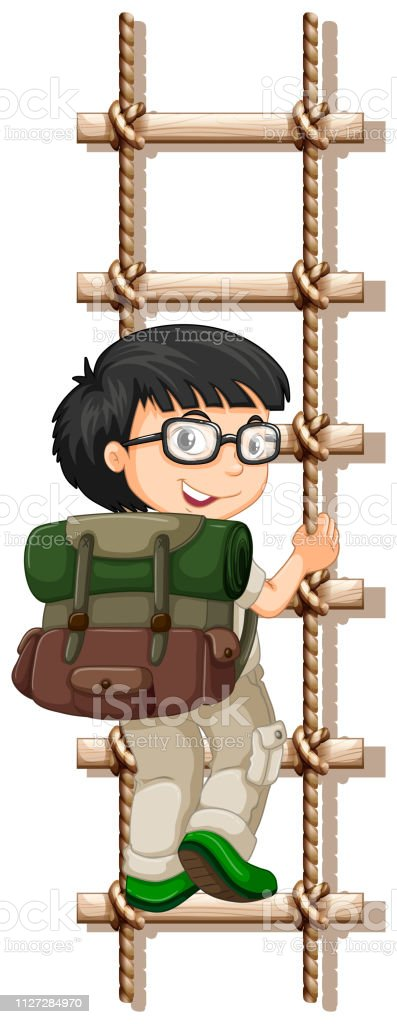 Camping boy climbing rope lader vector art illustration