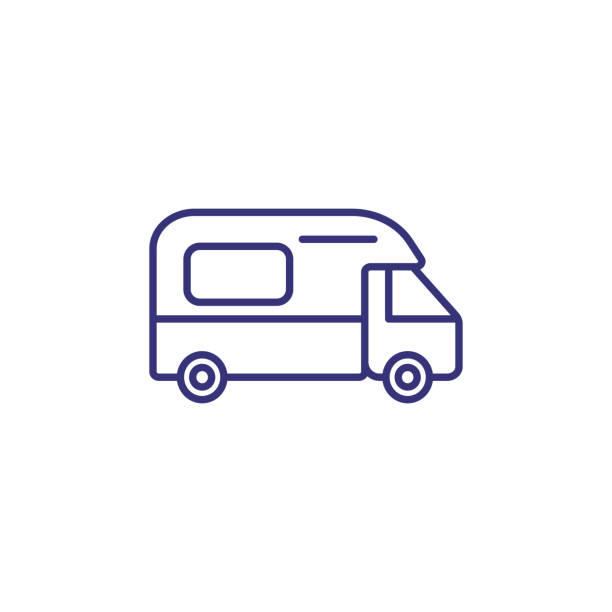stockillustraties, clipart, cartoons en iconen met camping auto lijn pictogram - caravan