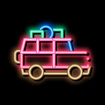 Camping Car with Luggage neon glow icon illustration